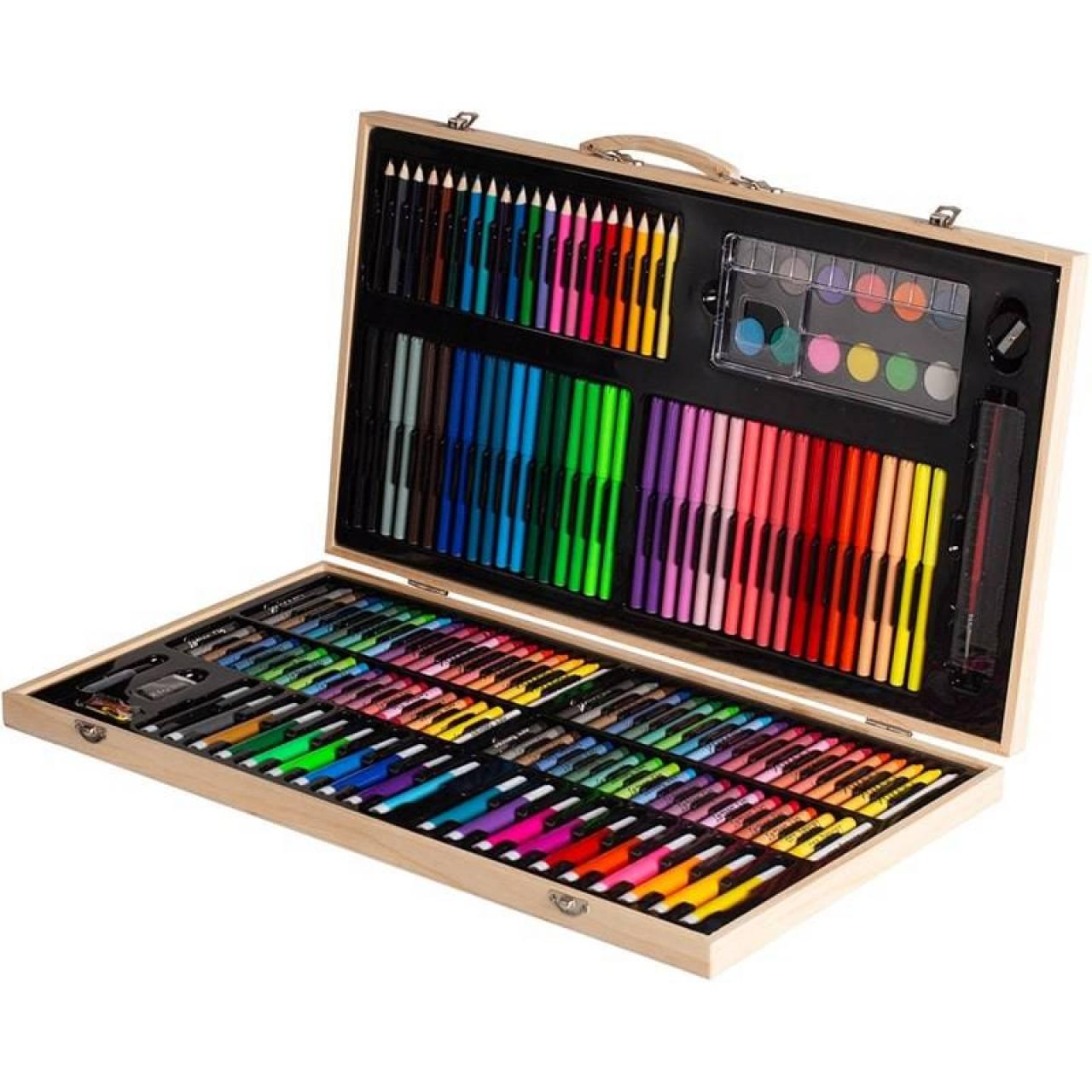 Набор для рисования в чемоданчике из дерева на 220 предметов