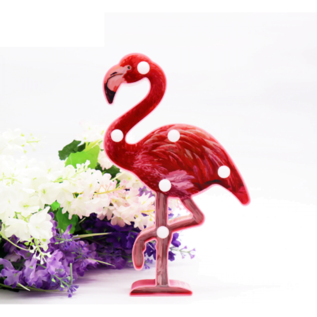 Led светильник фламинго малиновый