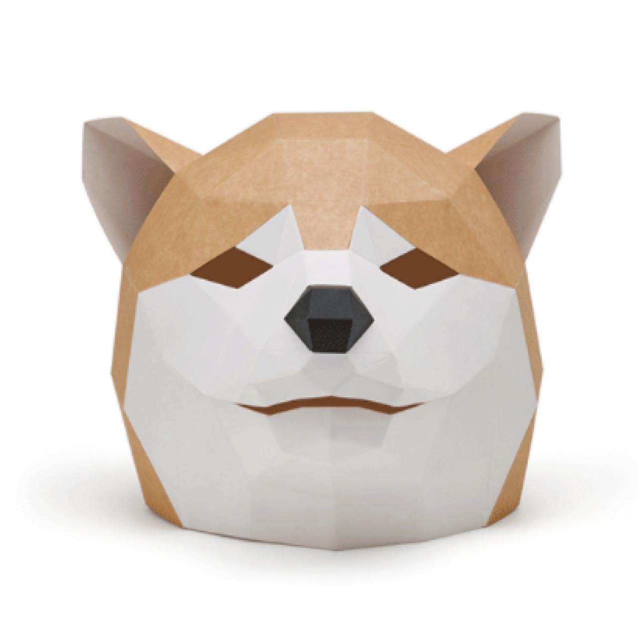 """3Д маска из бумаги """"Шиба-Ину"""""""