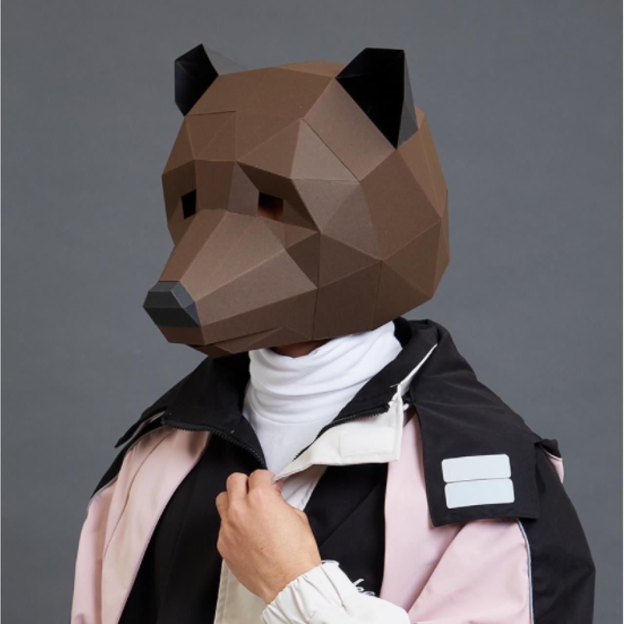 """3Д маска из бумаги """"Медведь"""""""