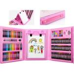 Набор для рисования в чемоданчике с мольбертом на 208 предметов Розовый