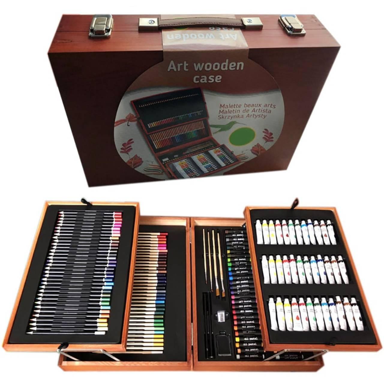 Набор для рисования в 2-х уровневом чемоданчике из дерева на 175 предметов