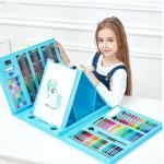 Набор для рисования в чемоданчике с мольбертом на 208 предметов Синий